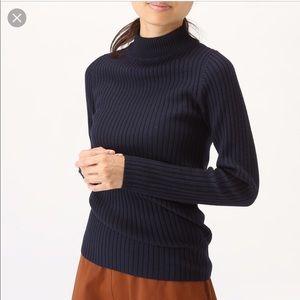MUJI Non-Itchy Wool Wide Rib High Neck Sweater